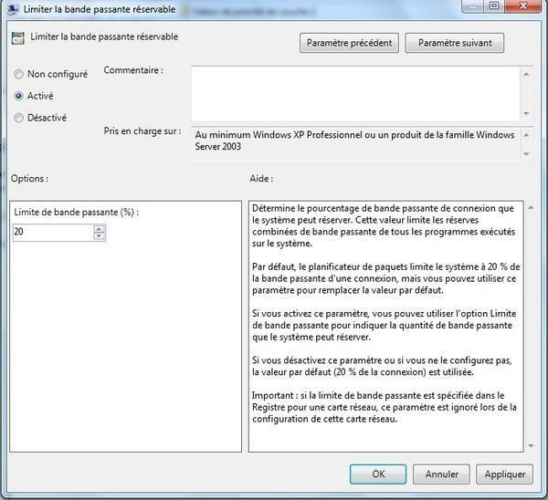 Liberer 20% de la bande passante sur windows 7